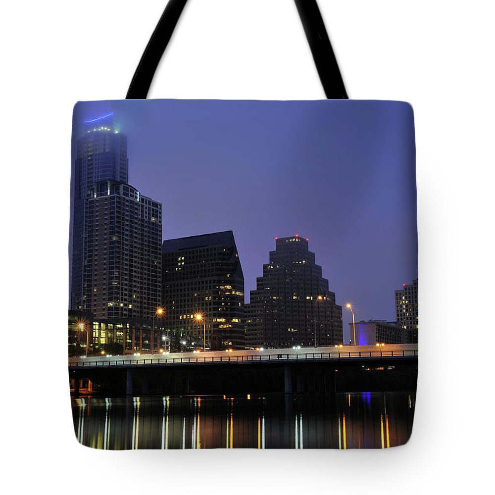 Color Image Tote Bag featuring the photograph Skyline And Bridge In Austin by Aimintang