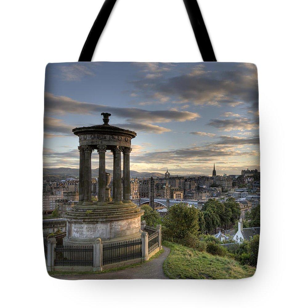 Edinburgh Tote Bag featuring the photograph Skyline Of Edinburgh Scotland by Michalakis Ppalis