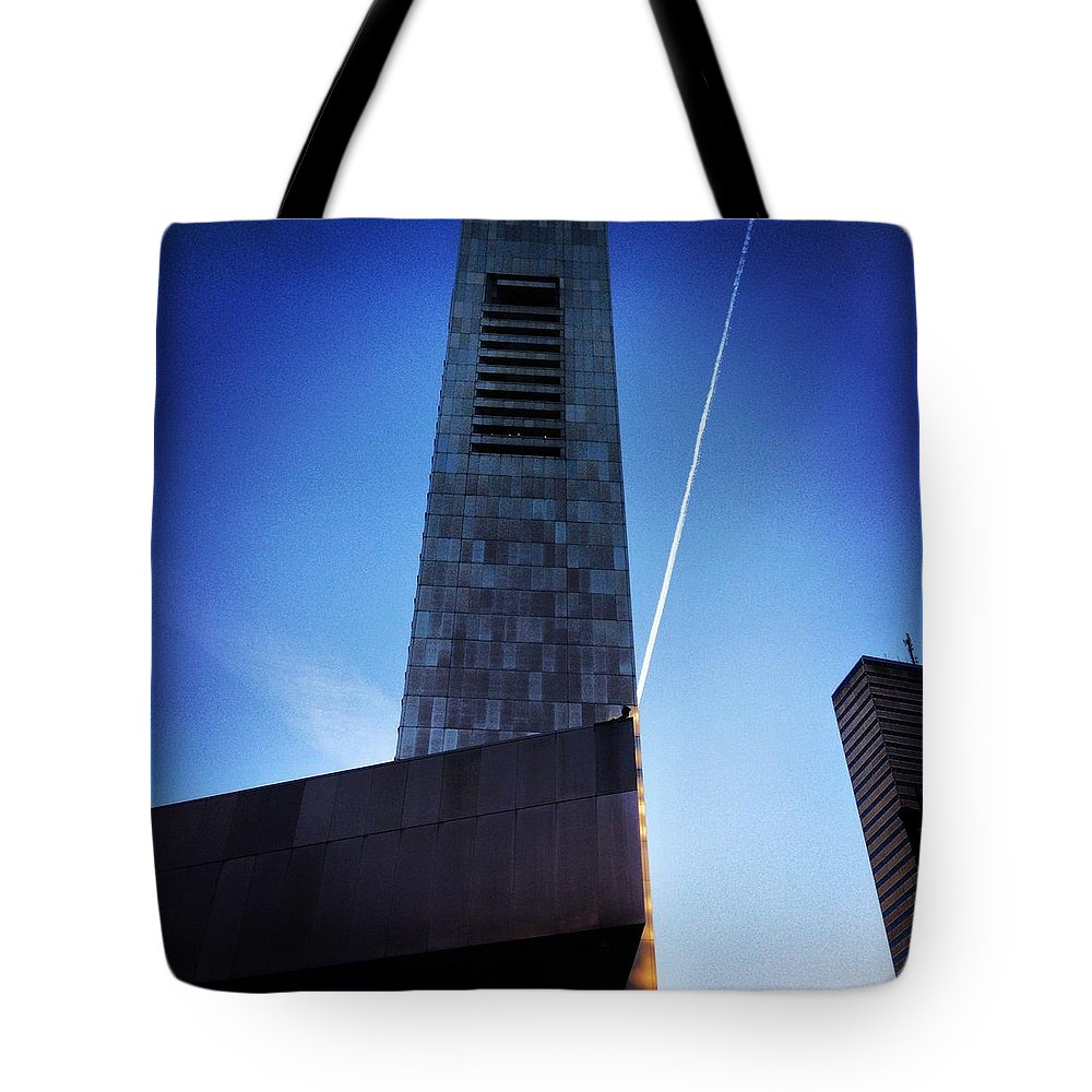 Boston Tote Bag featuring the photograph Skyscraper Geometry by Mark Valentine