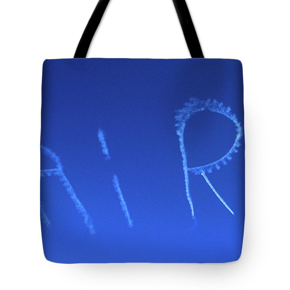 Photography Tote Bag featuring the photograph Skywriting The Letters Air In Cloudless by Vintage Images