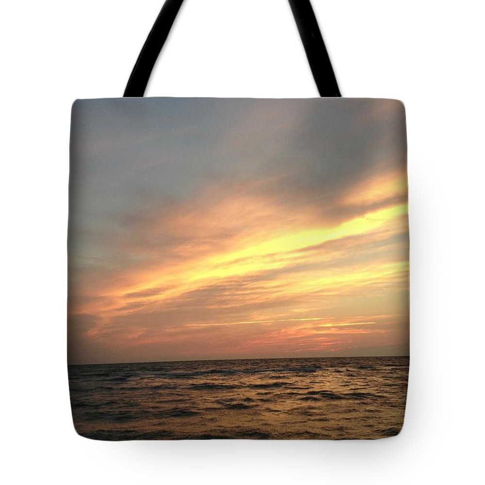 Sunset Tote Bag featuring the photograph Slanted Setting by K Simmons Luna