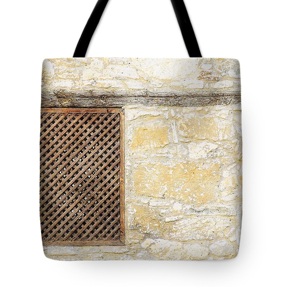 Window Tote Bag featuring the painting Slatted Window by Sandy MacGowan