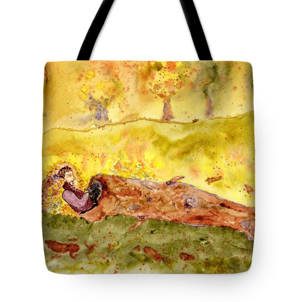 Jim Taylor Tote Bag featuring the painting Sleep In A Hollow Log by Jim Taylor