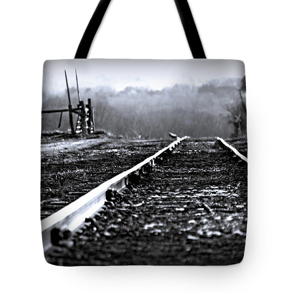 Railroad Tracks Tote Bag featuring the photograph Sleeping On The Tracks by Susan Maxwell Schmidt