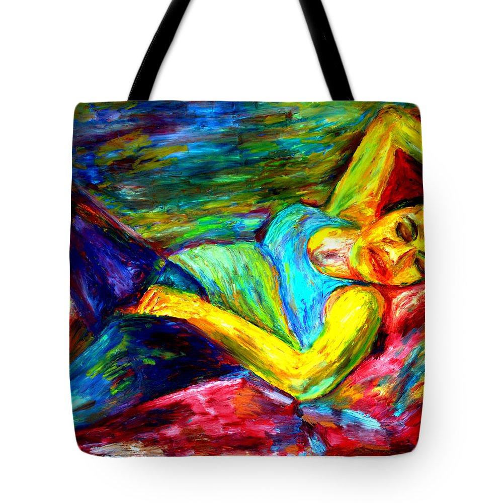 Sleeping Woman Tote Bag featuring the painting Sleeping Woman by Rachid Hatni