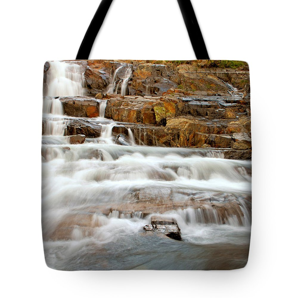 Water Fall Tote Bag featuring the photograph Slippery When Wet by Donna Blackhall