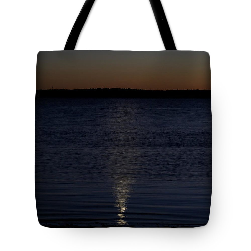 Moon Tote Bag featuring the photograph Sliver - A Crescent Moon On The Lake by Jane Eleanor Nicholas