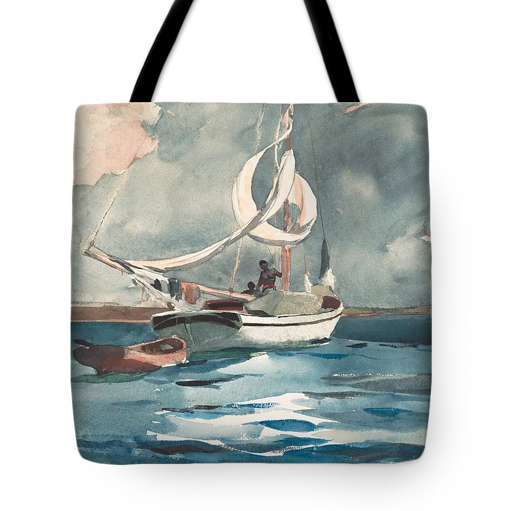 Winslow Homer Tote Bag featuring the painting Sloop Nassau Bahamas by Winslow Homer