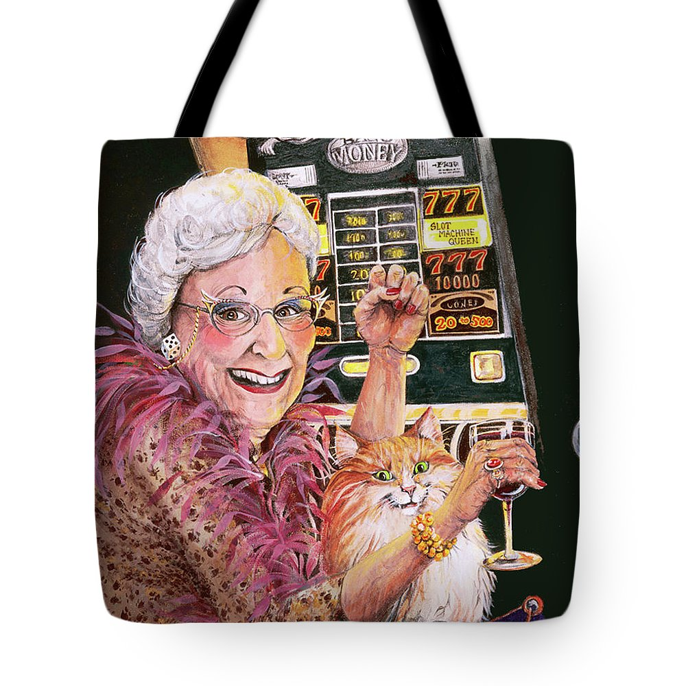 Slot Machine Tote Bag featuring the painting Slot Machine Queen by Shelly Wilkerson