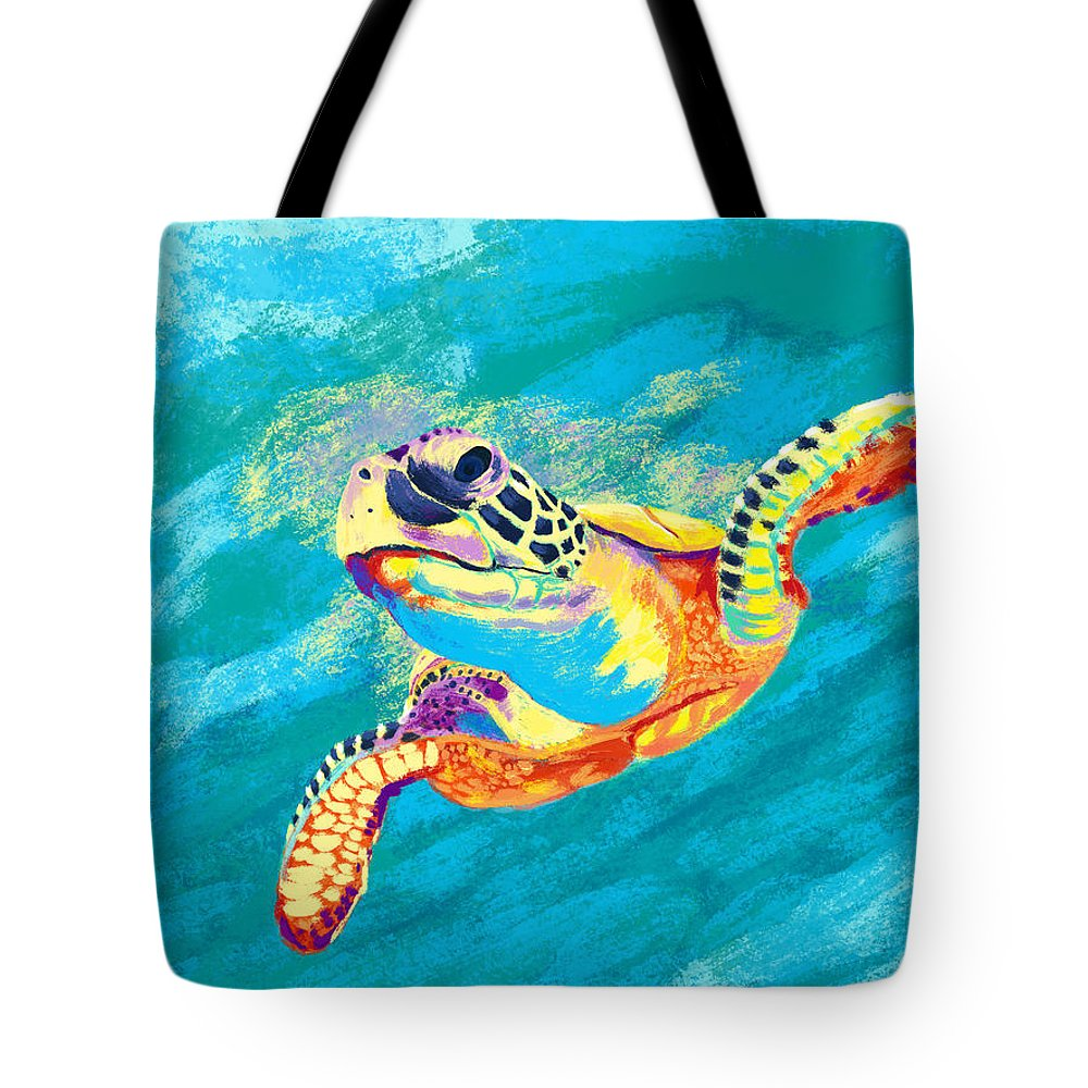 Sea Turtle Tote Bag featuring the digital art Slow Ride by Kevin Putman