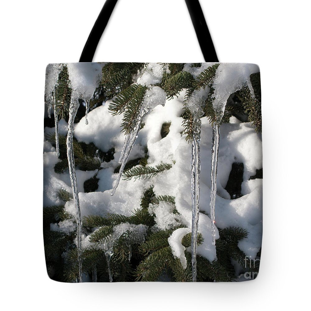Winter Tote Bag featuring the photograph Slow Snow Melt by Ann Horn