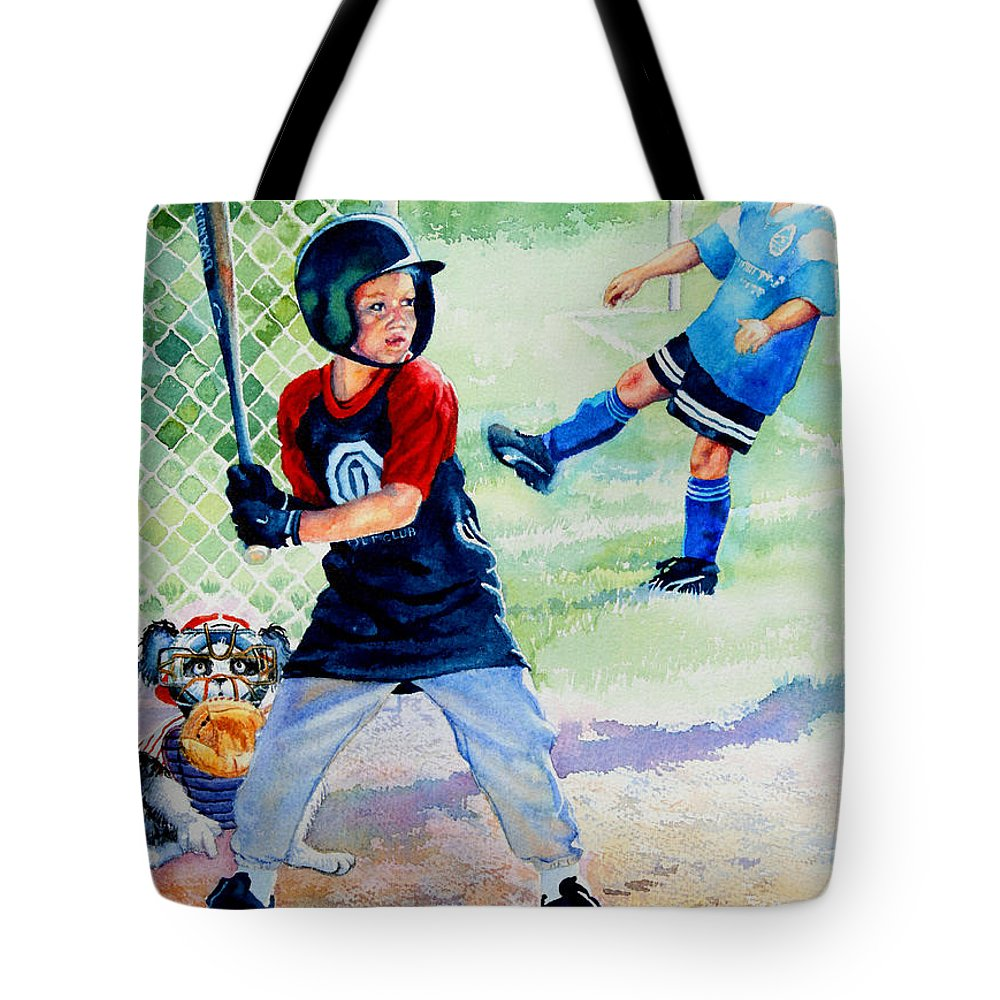 Baseball Tote Bag featuring the painting Slugger And Kicker by Hanne Lore Koehler
