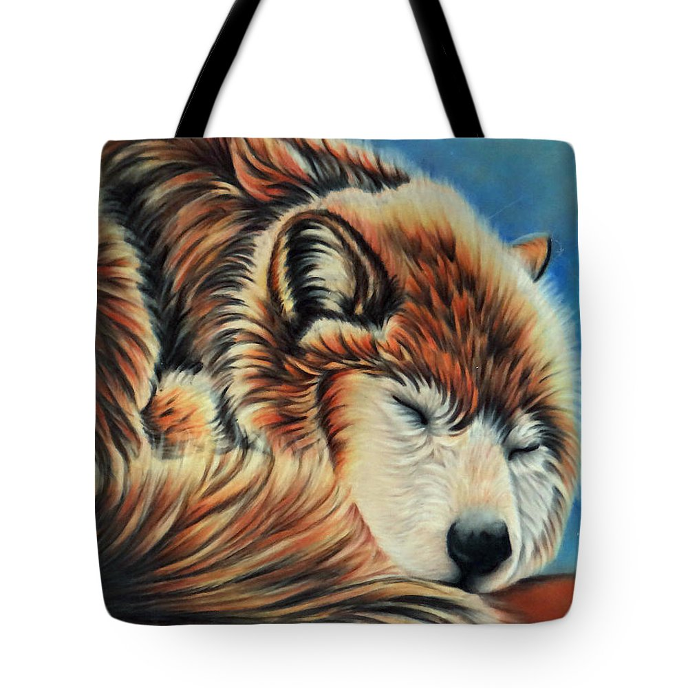 Wolf Tote Bag featuring the drawing Slumber Time by Kathy Stocks
