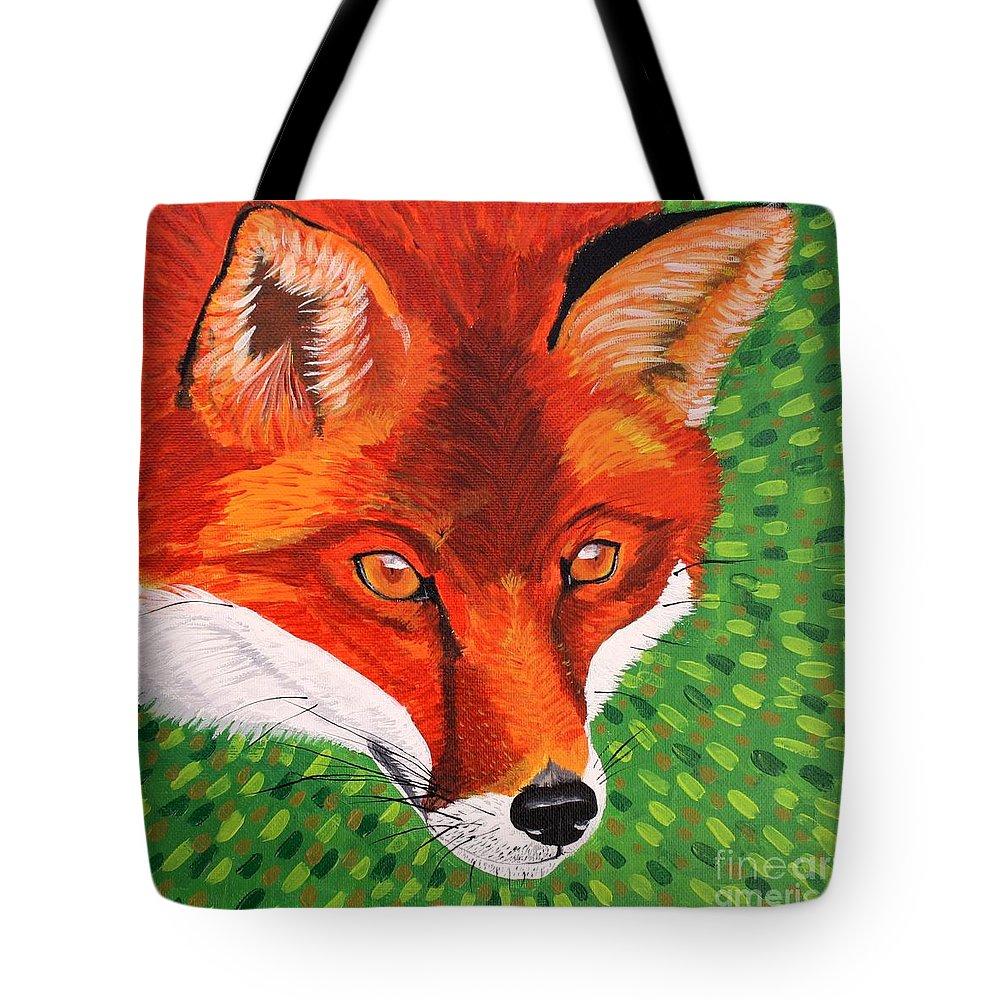Fox Tote Bag featuring the painting Sly Mr. Fox by Vicki Maheu