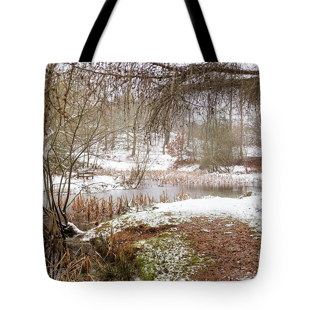 Cannock Chase Tote Bag featuring the photograph Small Lake In The Snow by Ann Garrett