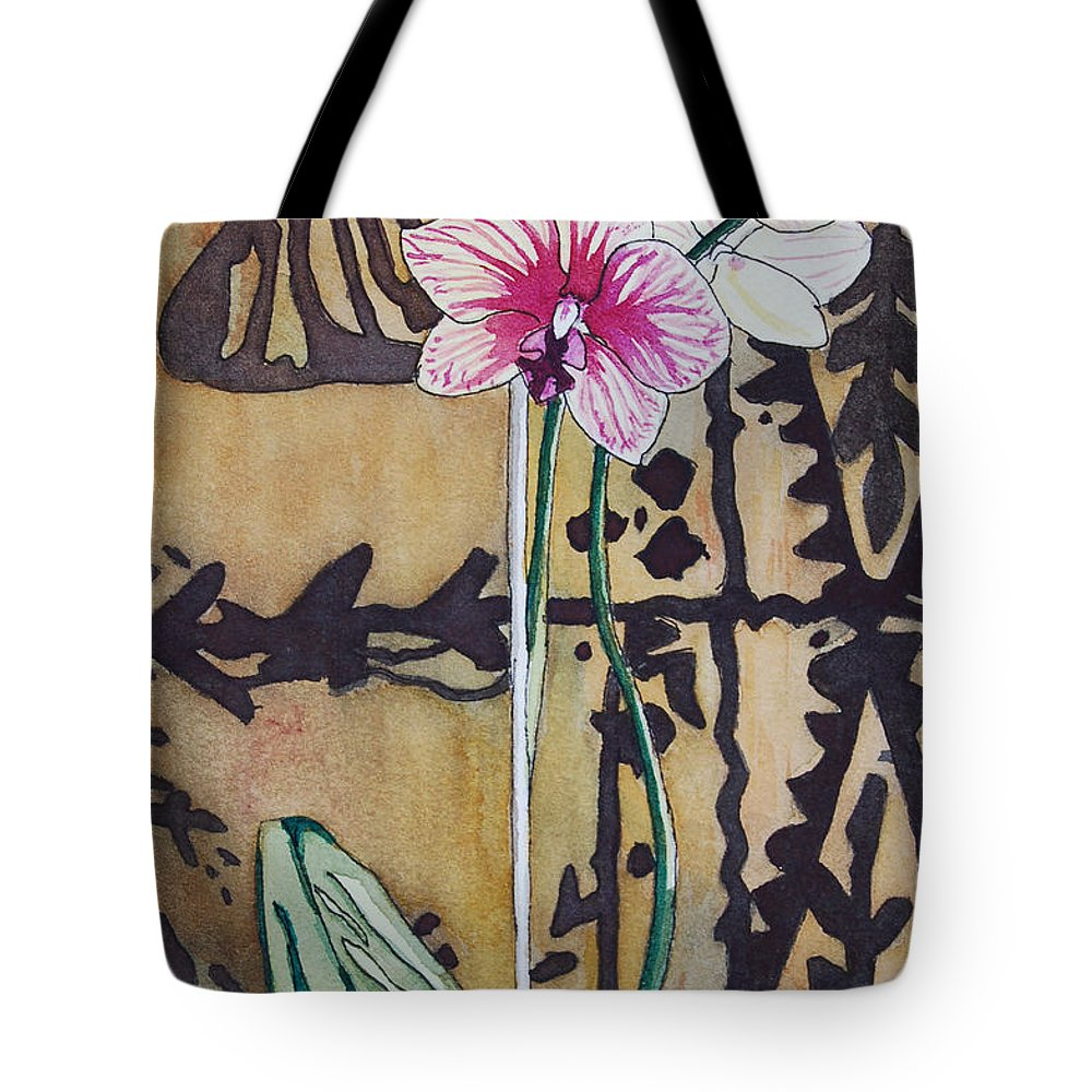 Orchids Tote Bag featuring the painting Small Orchids by Terry Holliday