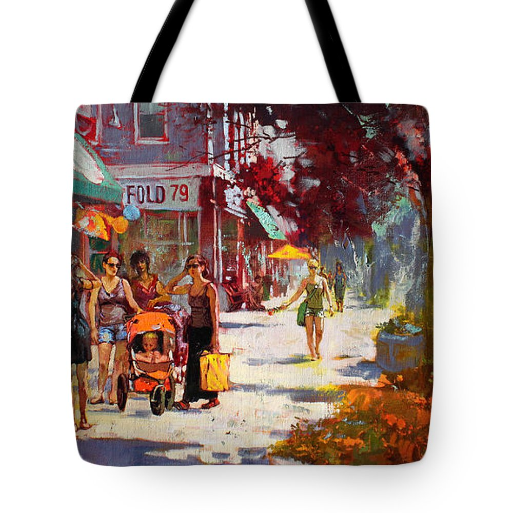 Landscape Tote Bag featuring the painting Small Talk In Elmwood Ave by Ylli Haruni
