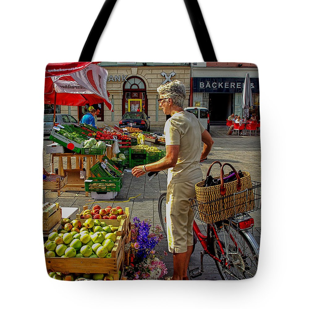 Austria Tote Bag featuring the photograph Small Town Market by Christine Czernin Morzin