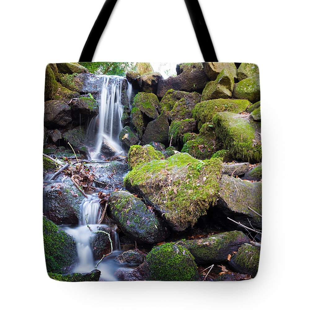 Dublin Tote Bag featuring the photograph Small Waterfall In Marlay Park Dublin by Semmick Photo