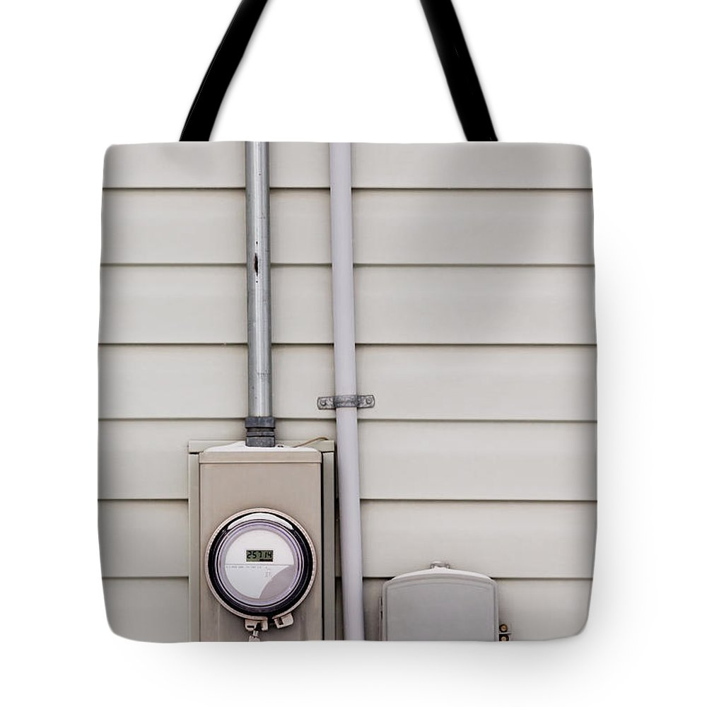Amperes Tote Bag featuring the photograph Smart Grid Power Supply Meter And Phone Line Drop by Stephan Pietzko
