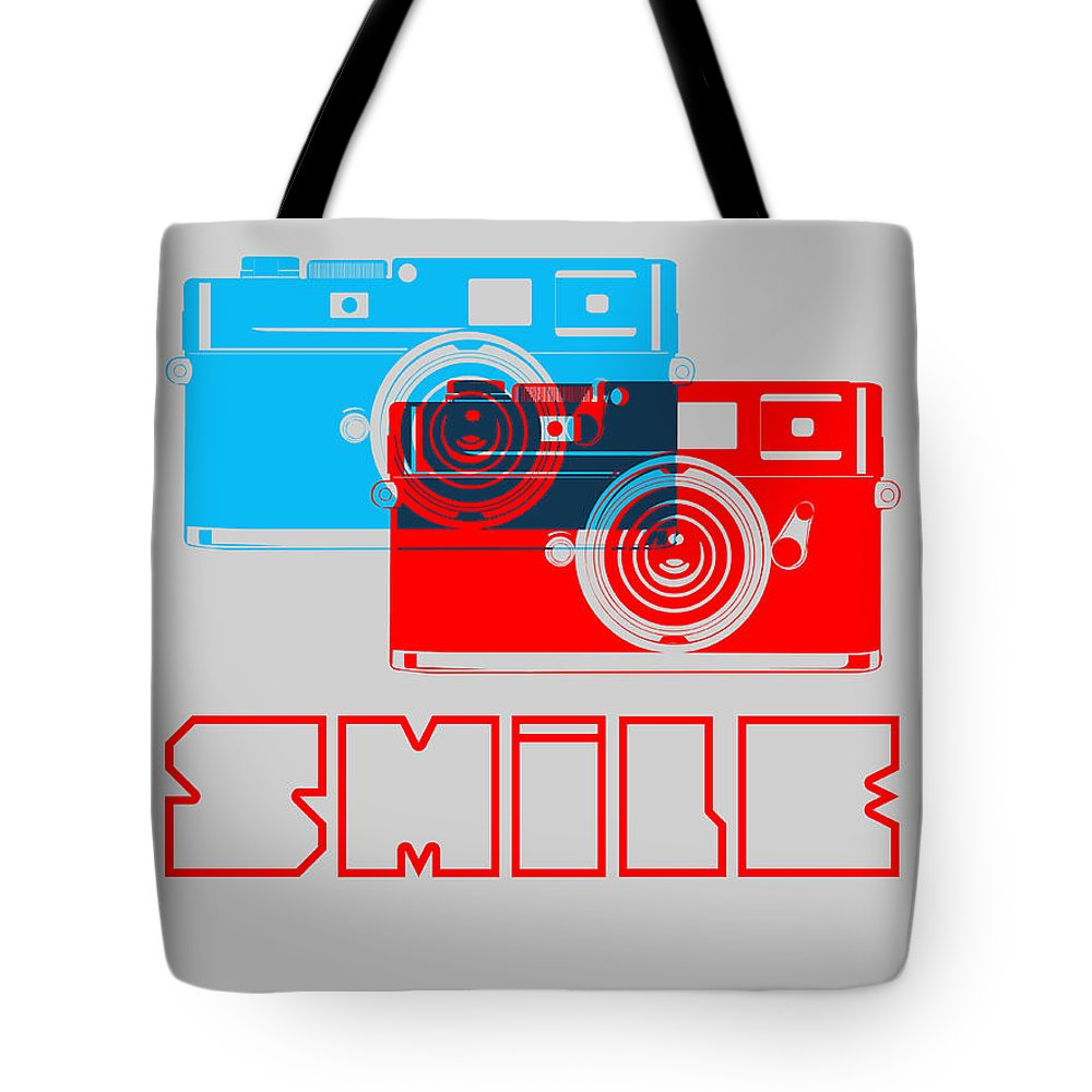 Tote Bag featuring the digital art Smile Camera Poster by Naxart Studio