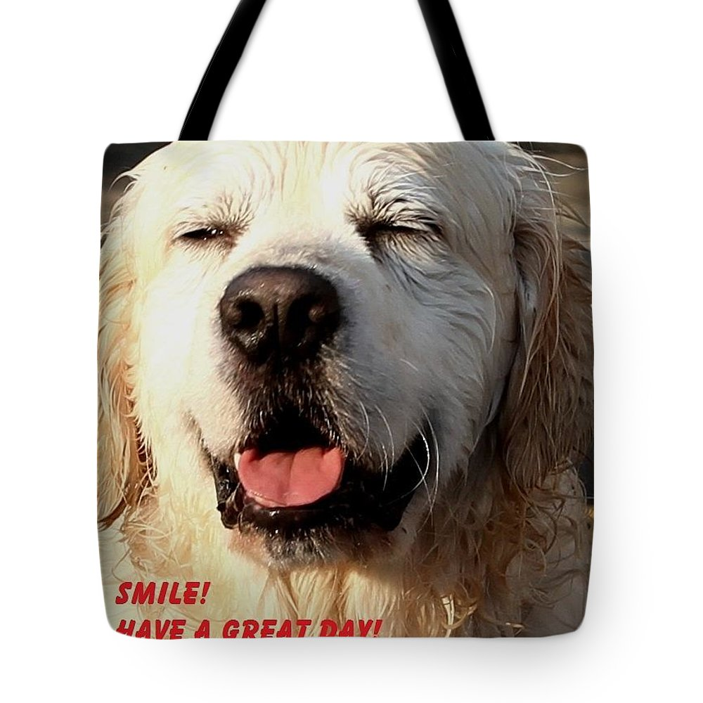 'golden Retriever' Tote Bag featuring the photograph Smile by Roy Crowther