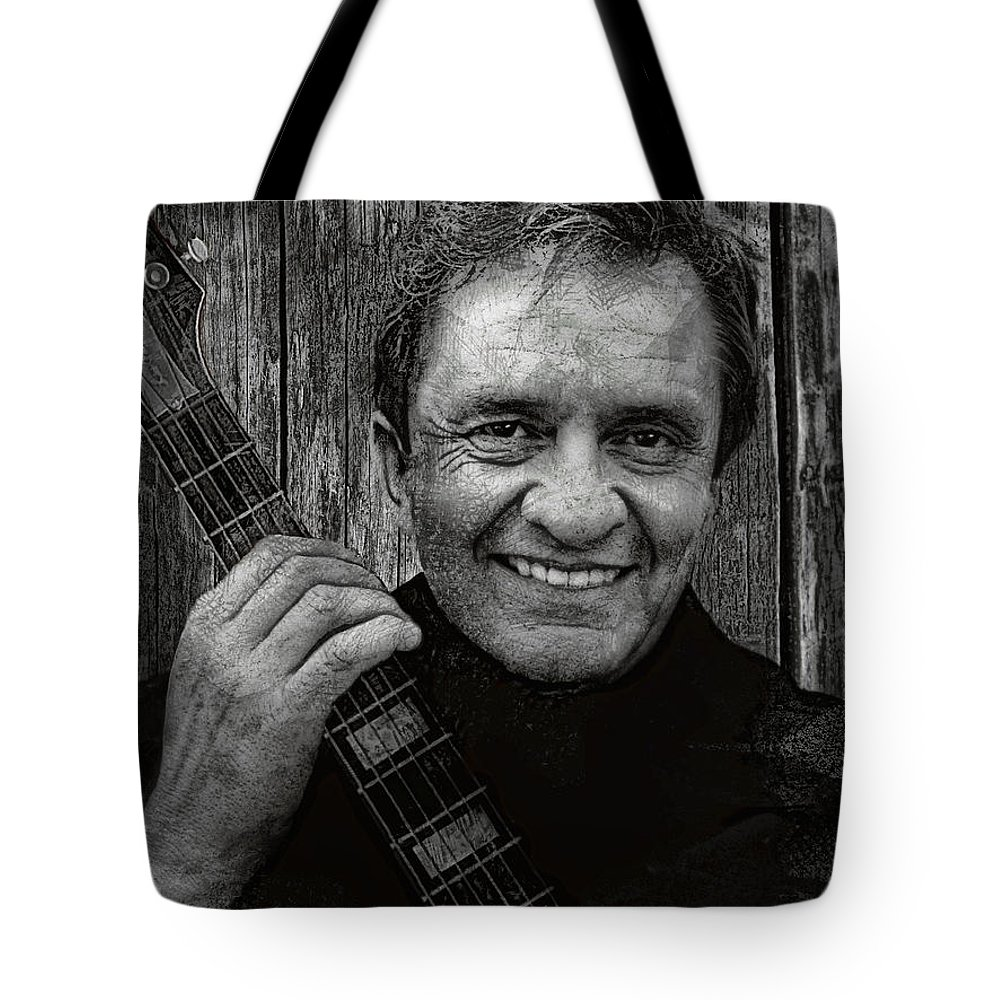 johnny Cash Tote Bag featuring the digital art Smiling Johnny Cash by Daniel Hagerman
