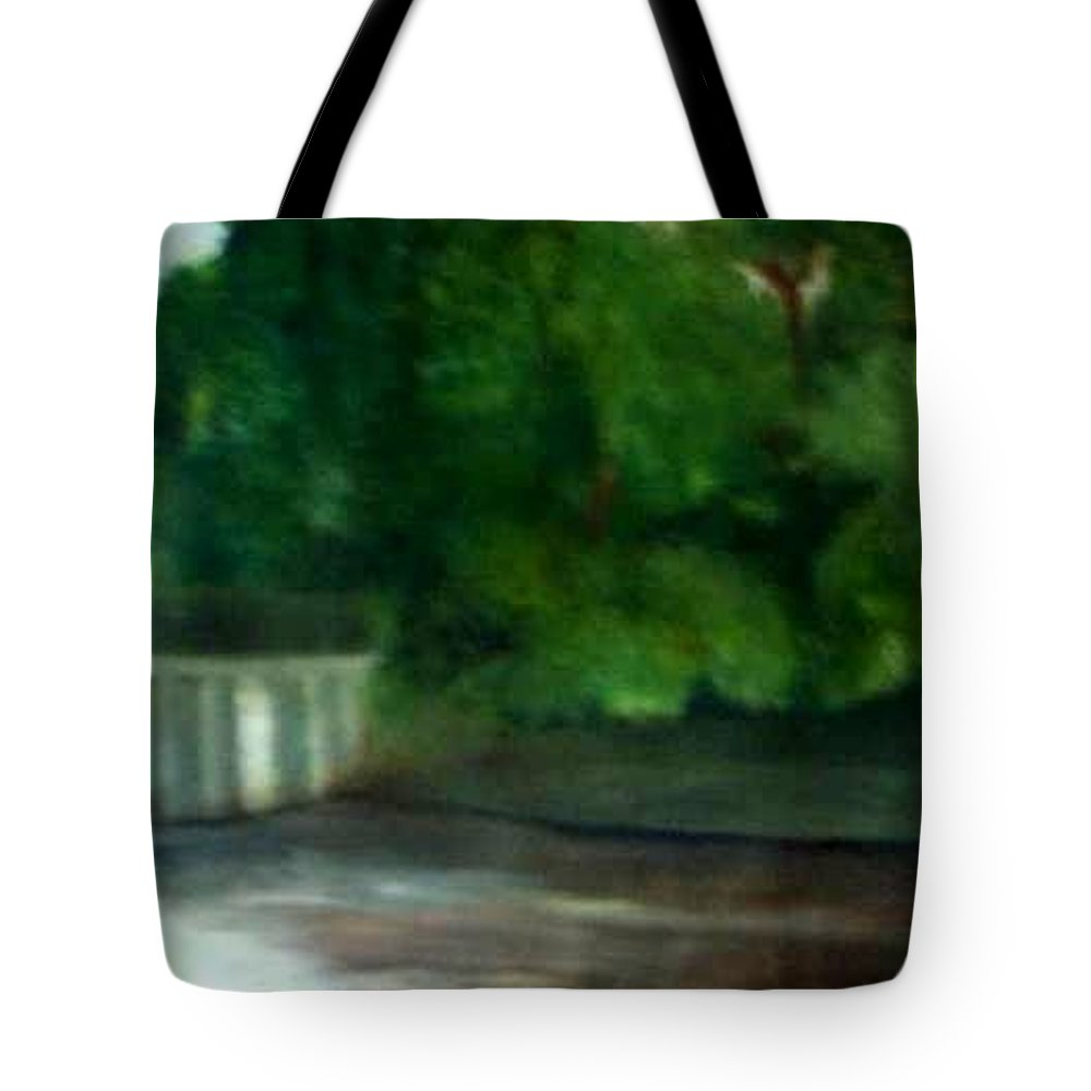 Smithville Park Tote Bag featuring the painting Smithville Park Dam by Sheila Mashaw