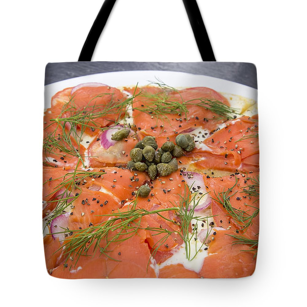 Smoked Tote Bag featuring the photograph Smoked Salmon Pizza Closeup by Jit Lim