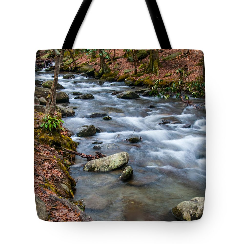 Little Pigeon Tote Bag featuring the photograph Smokey Mountain Stream by Randy Walton