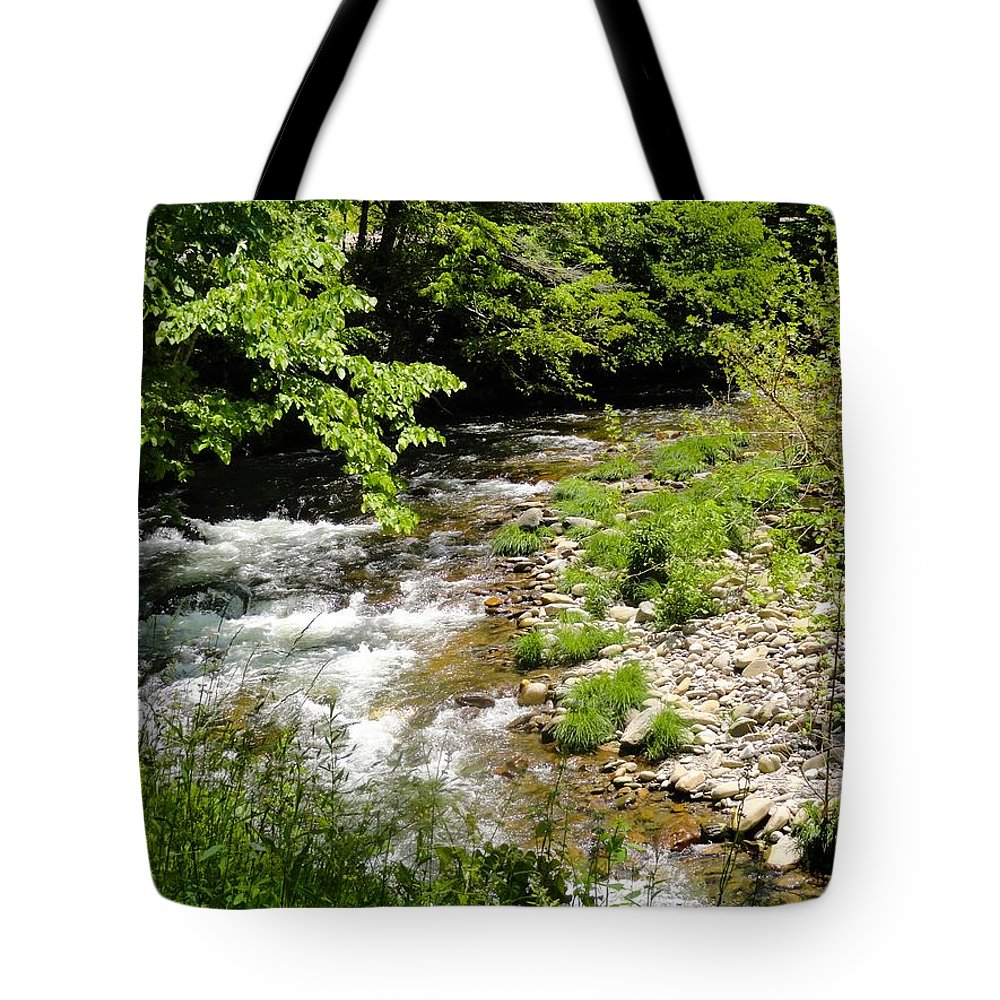 Smoky Mountain Stream Tote Bag featuring the photograph Smoky Mountain Stream by Cynthia Woods