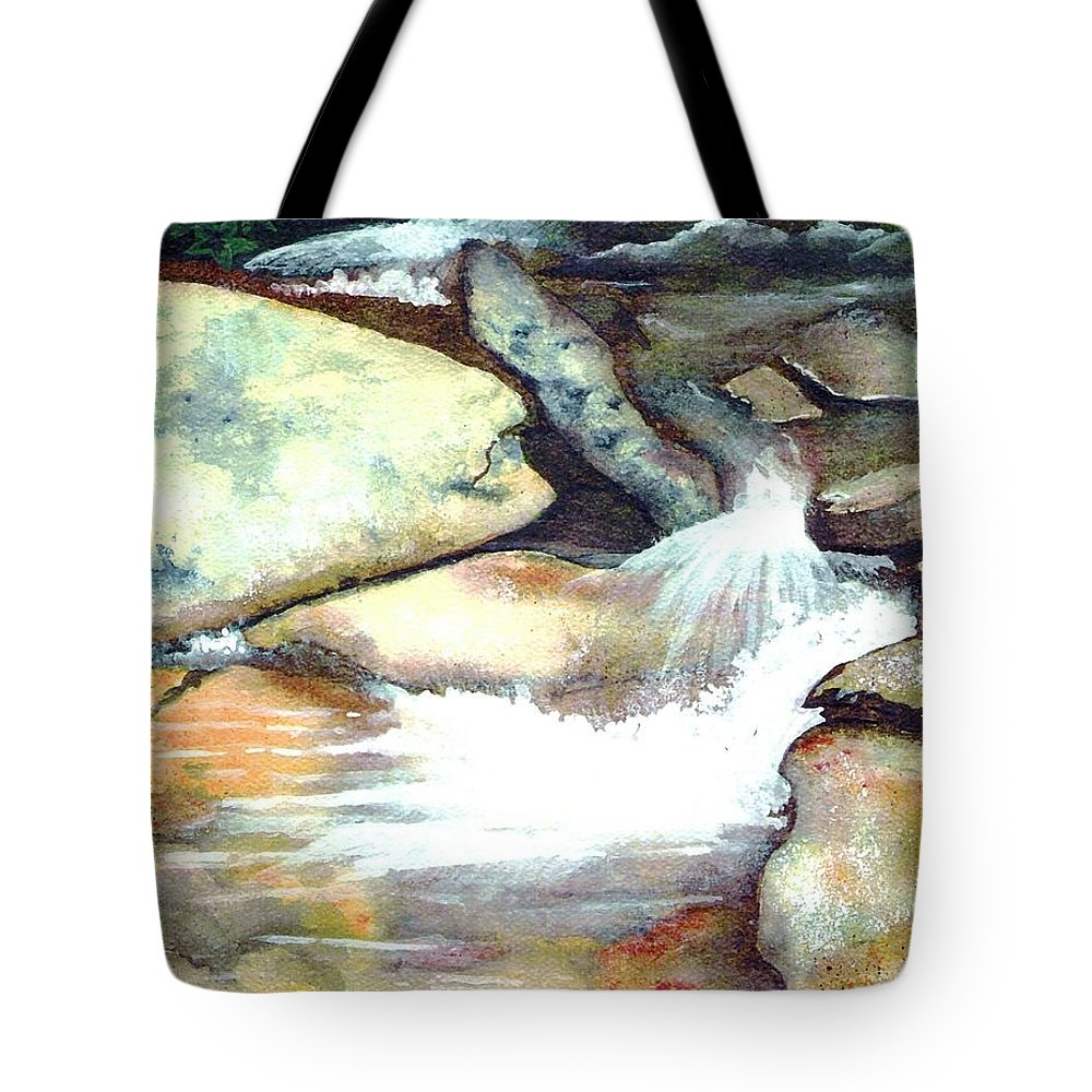 Fine Art Tote Bag featuring the painting Smoky Mountains Waterfall by Patricia Griffin Brett