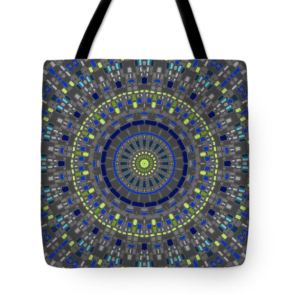 Mandala Tote Bag featuring the digital art Smooth Squares Kaleidoscope by Joy McKenzie