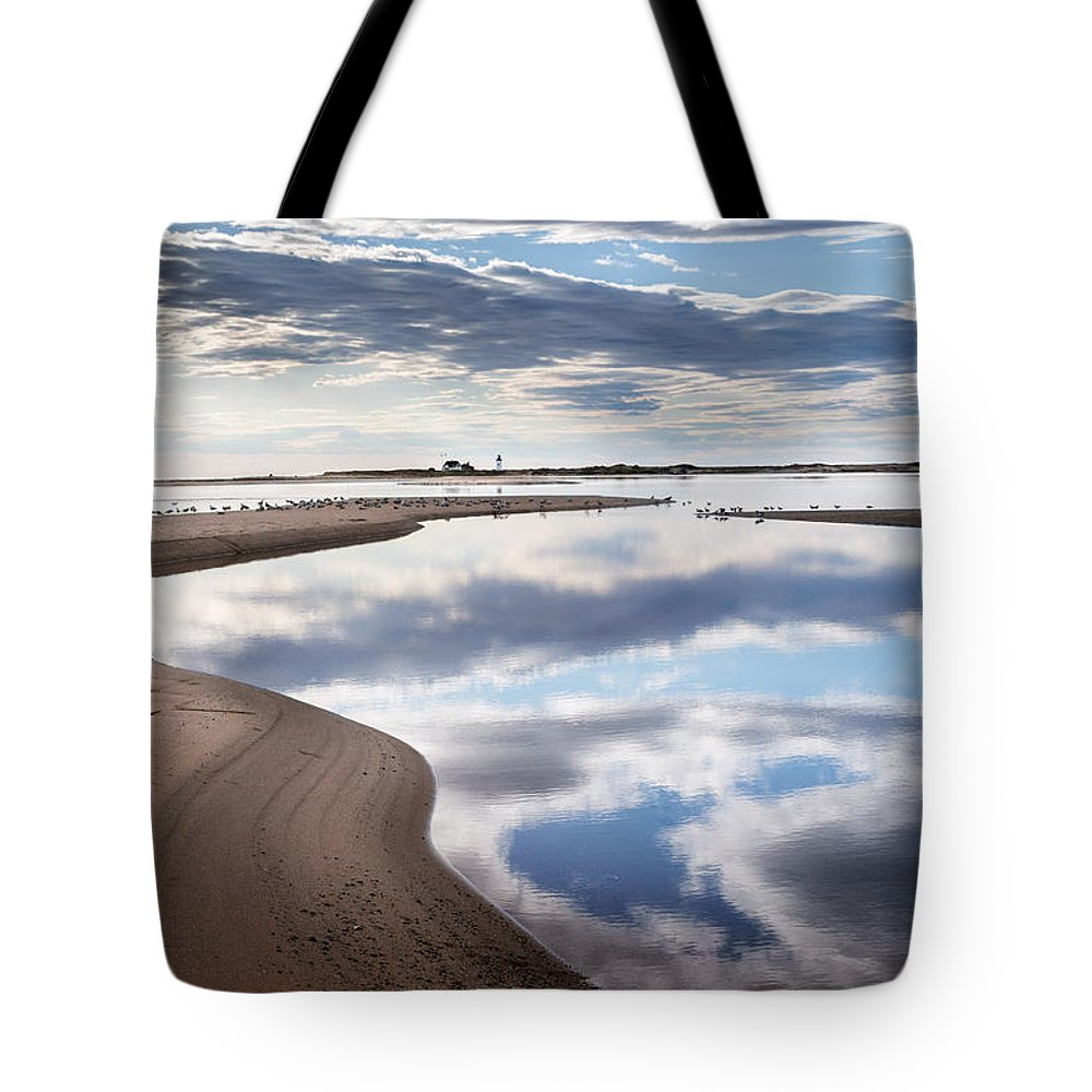 Race Point Light Tote Bag featuring the photograph Smooth Water Reflections by Bill Wakeley