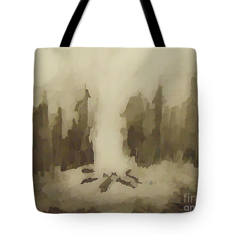 Smouldering Tote Bag featuring the drawing Smouldering by John Malone