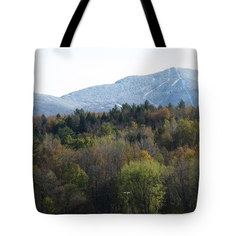 Mountain Tote Bag featuring the photograph Smugglers Notch From Cambridge Vermont by Barbara McDevitt