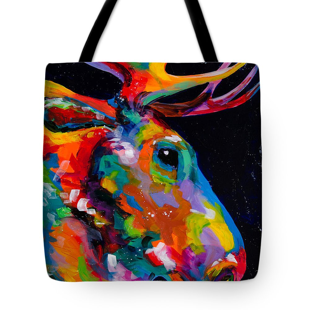 Tracy Miller Tote Bag featuring the painting Snake River Moose by Tracy Miller