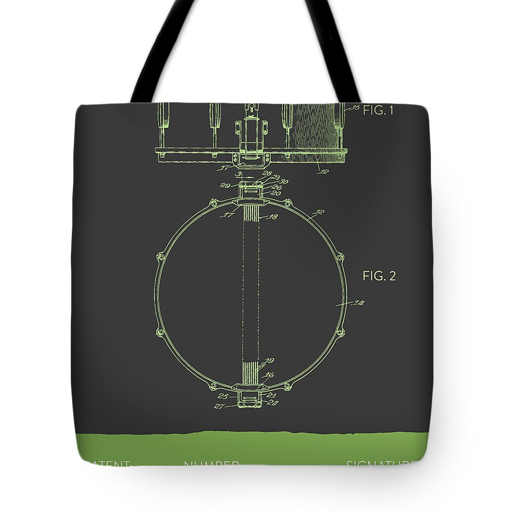 Snare Drum Tote Bag featuring the digital art Snare Drum Patent From 1939 - Gray Green by Aged Pixel