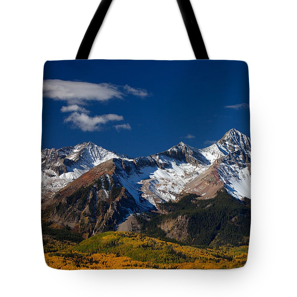 Colorado Landscapes Tote Bag featuring the photograph Sneffels Clearing by Darren White
