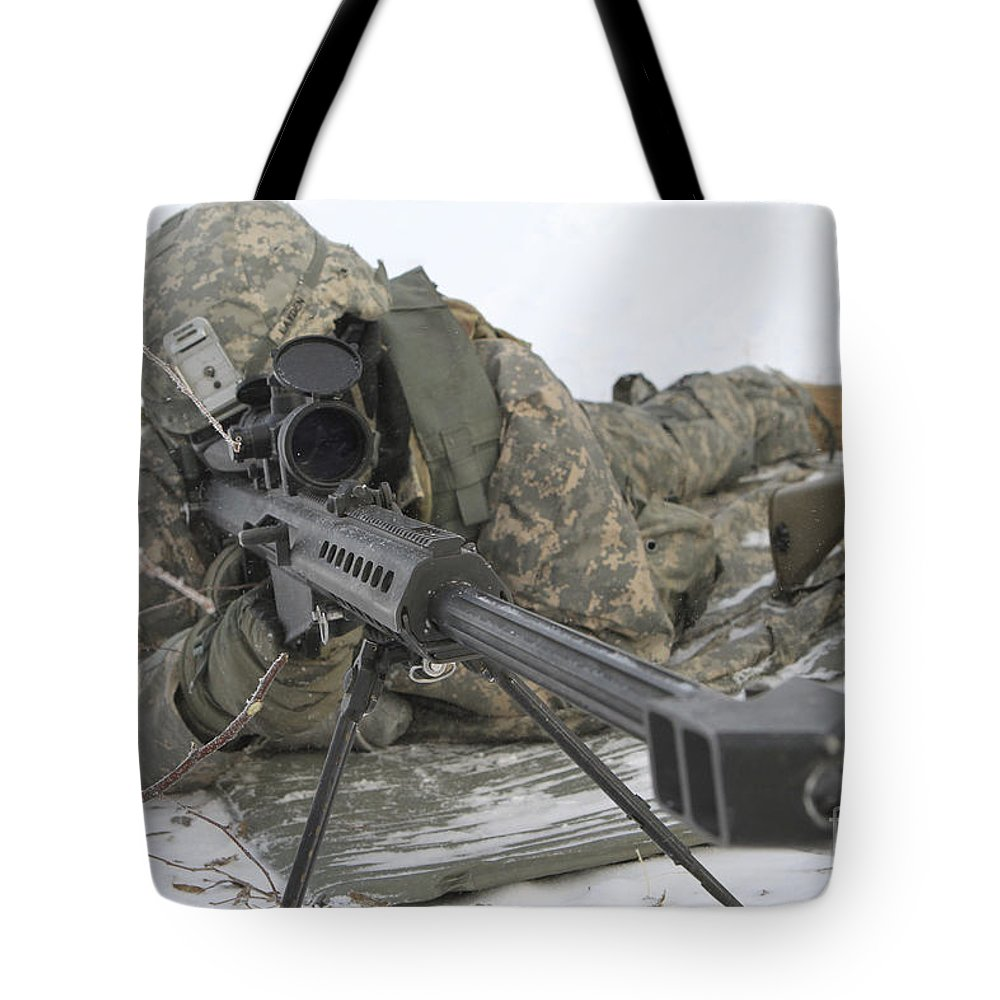 Army Tote Bag featuring the photograph Snipers Provide Overwatch At Fort by Stocktrek Images