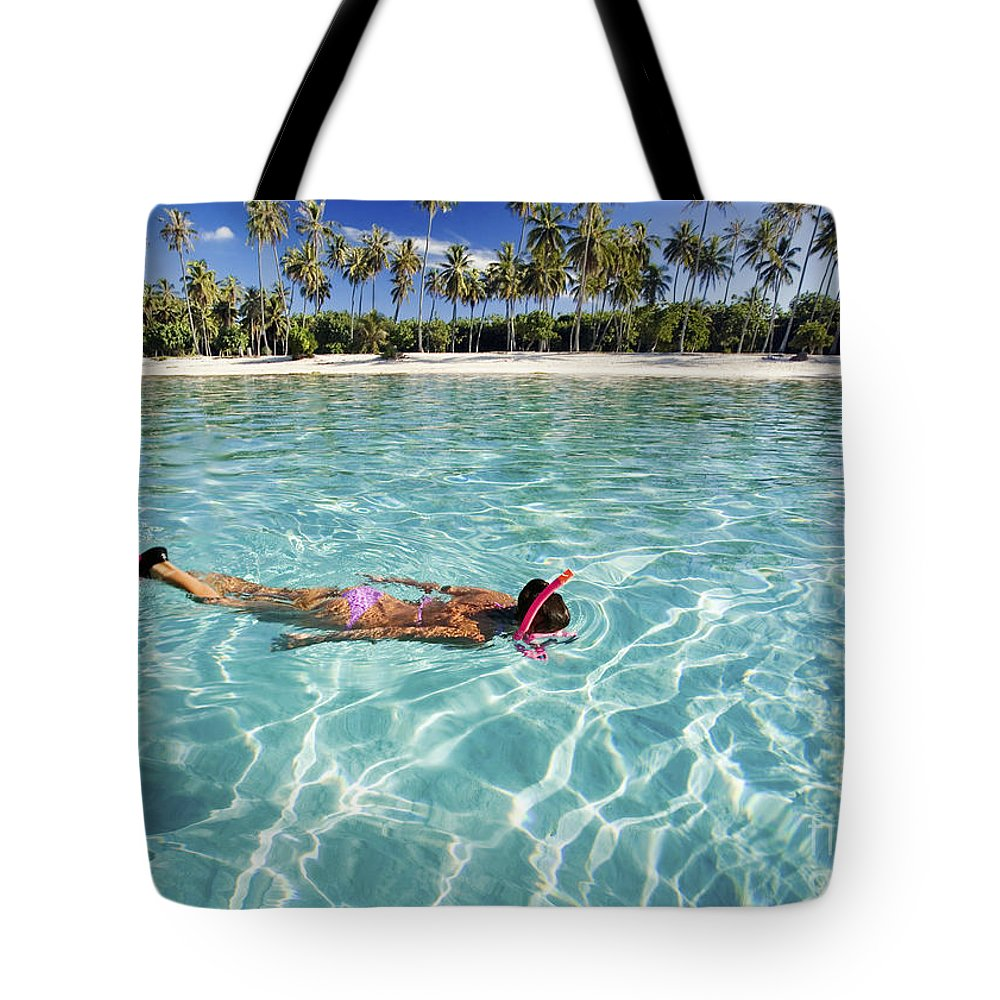 Amaze Tote Bag featuring the photograph Snorkeling In Polynesia by M Swiet Productions