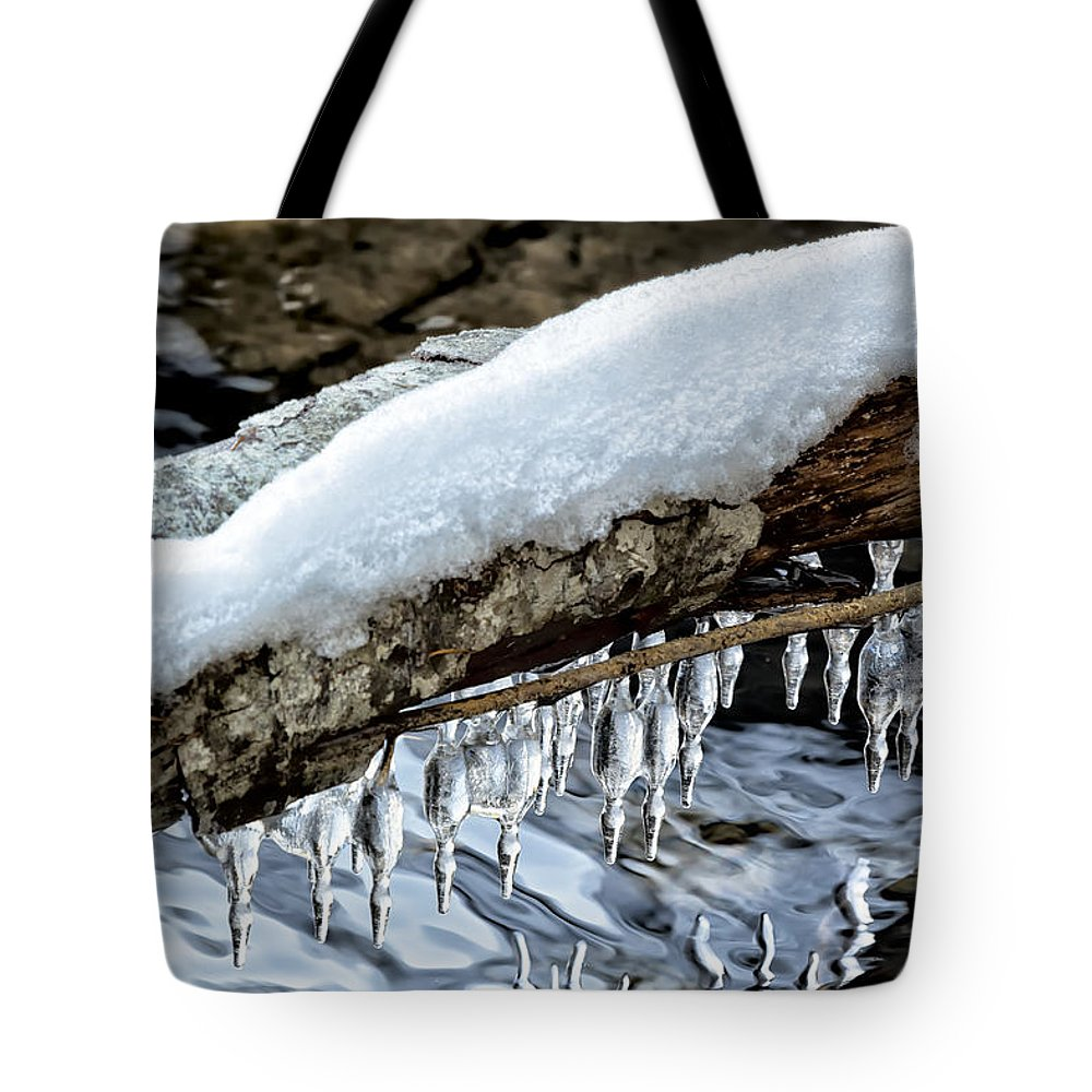 Snow Tote Bag featuring the photograph Snow And Icicles No. 1 by Belinda Greb