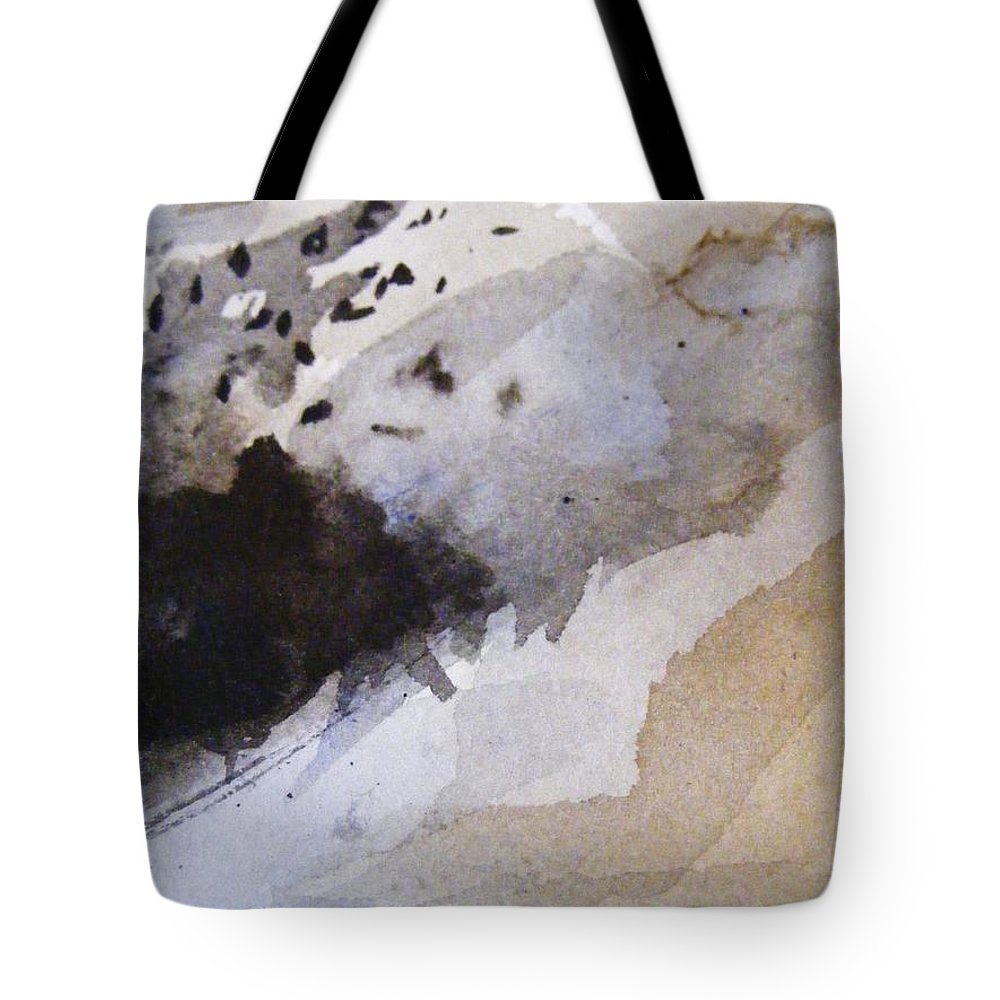 Chinese Brush Painting Tote Bag featuring the painting Snow And Trees by Nancy Kane Chapman