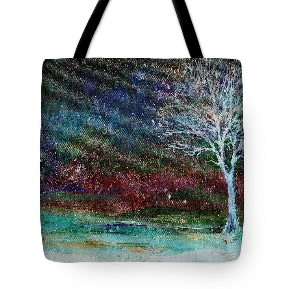 Landscape Tote Bag featuring the painting Snow At Twilight by Mary Wolf