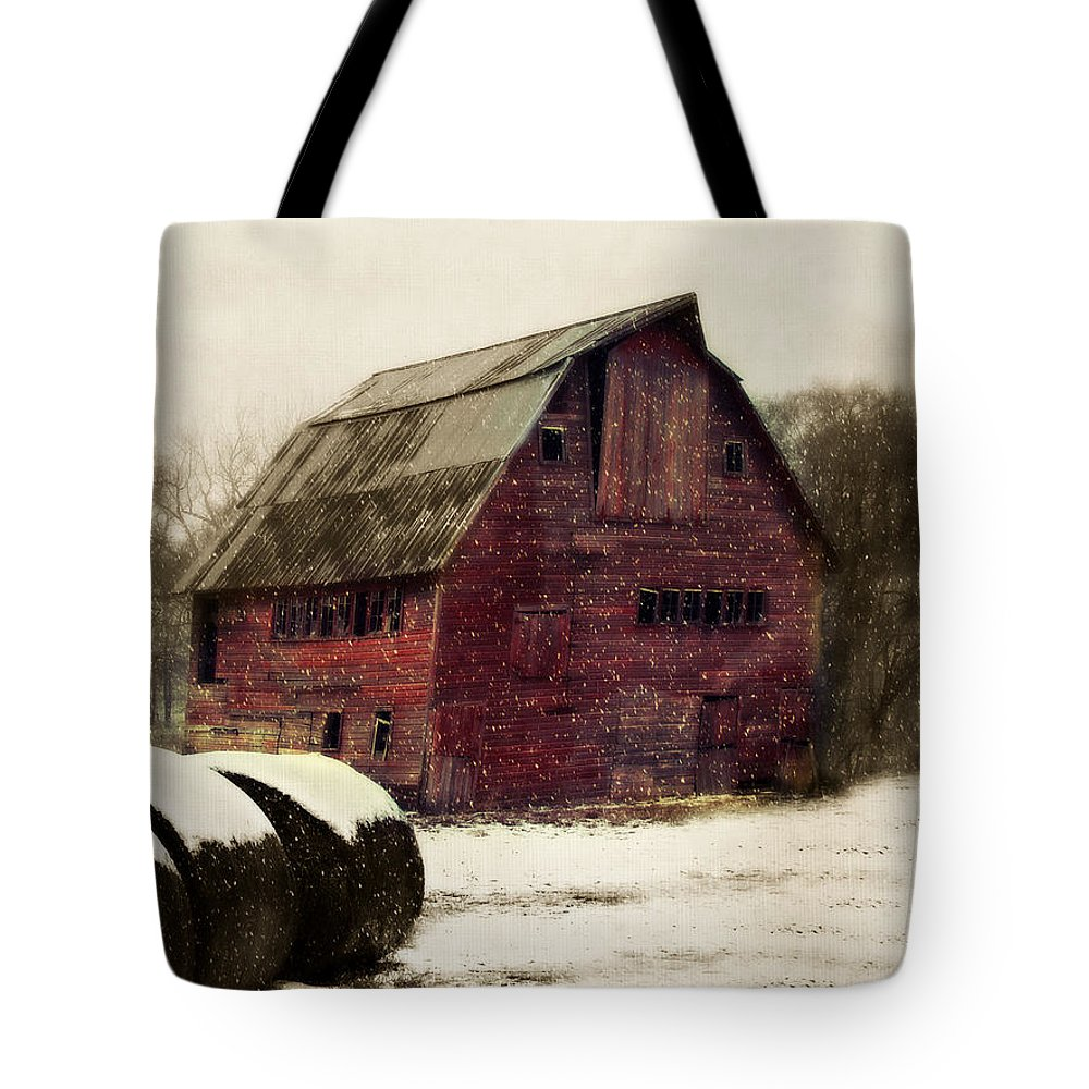 Barn Tote Bag featuring the photograph Snow Bales by Julie Hamilton