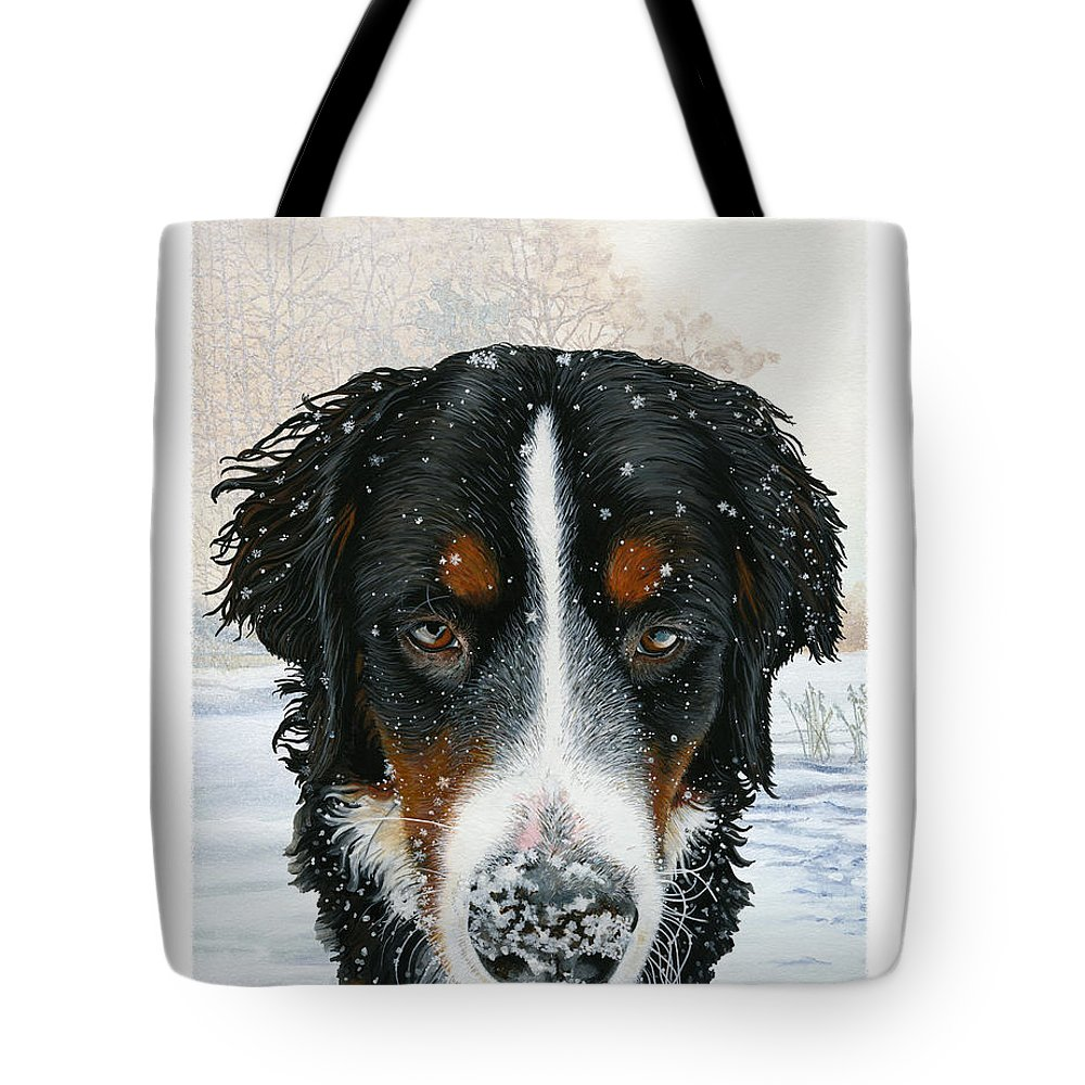 Bernese Tote Bag featuring the painting Snow Bumper by Liane Weyers