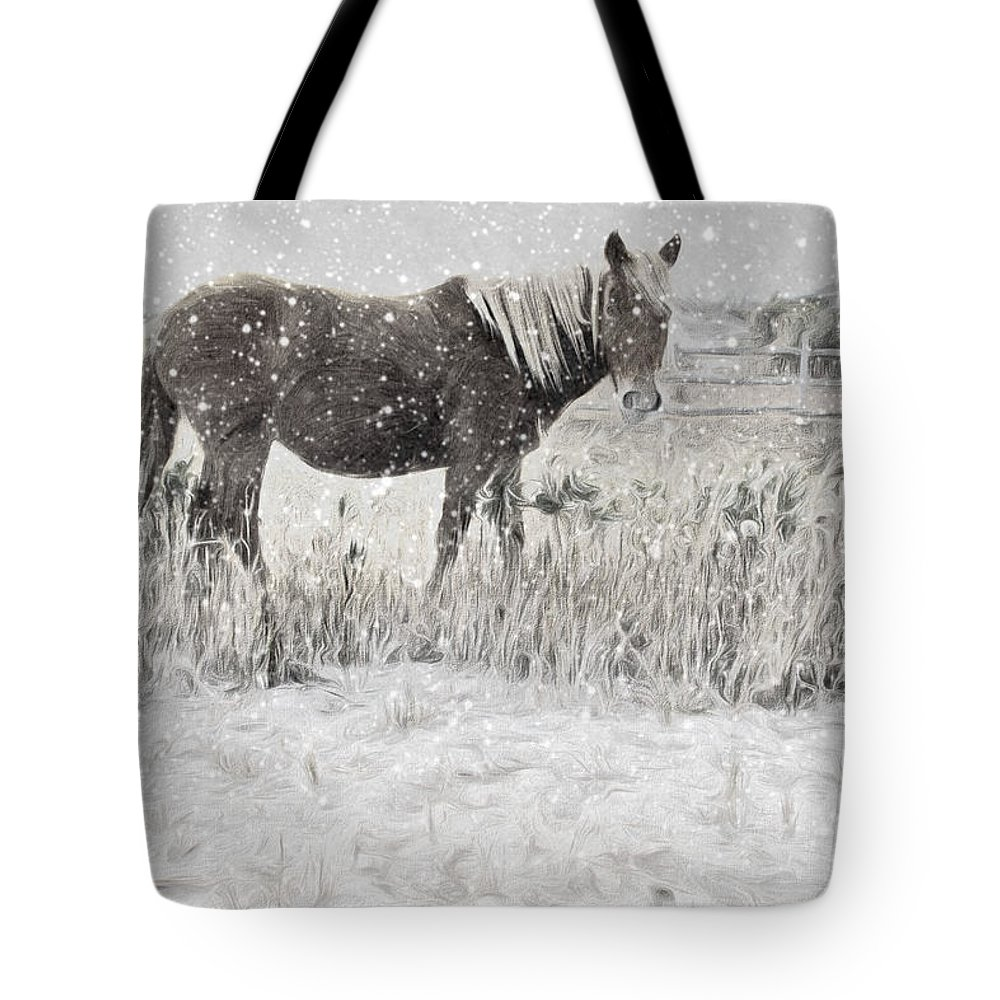 Wild Horse Tote Bag featuring the photograph Snow By The Beach by Alice Gipson