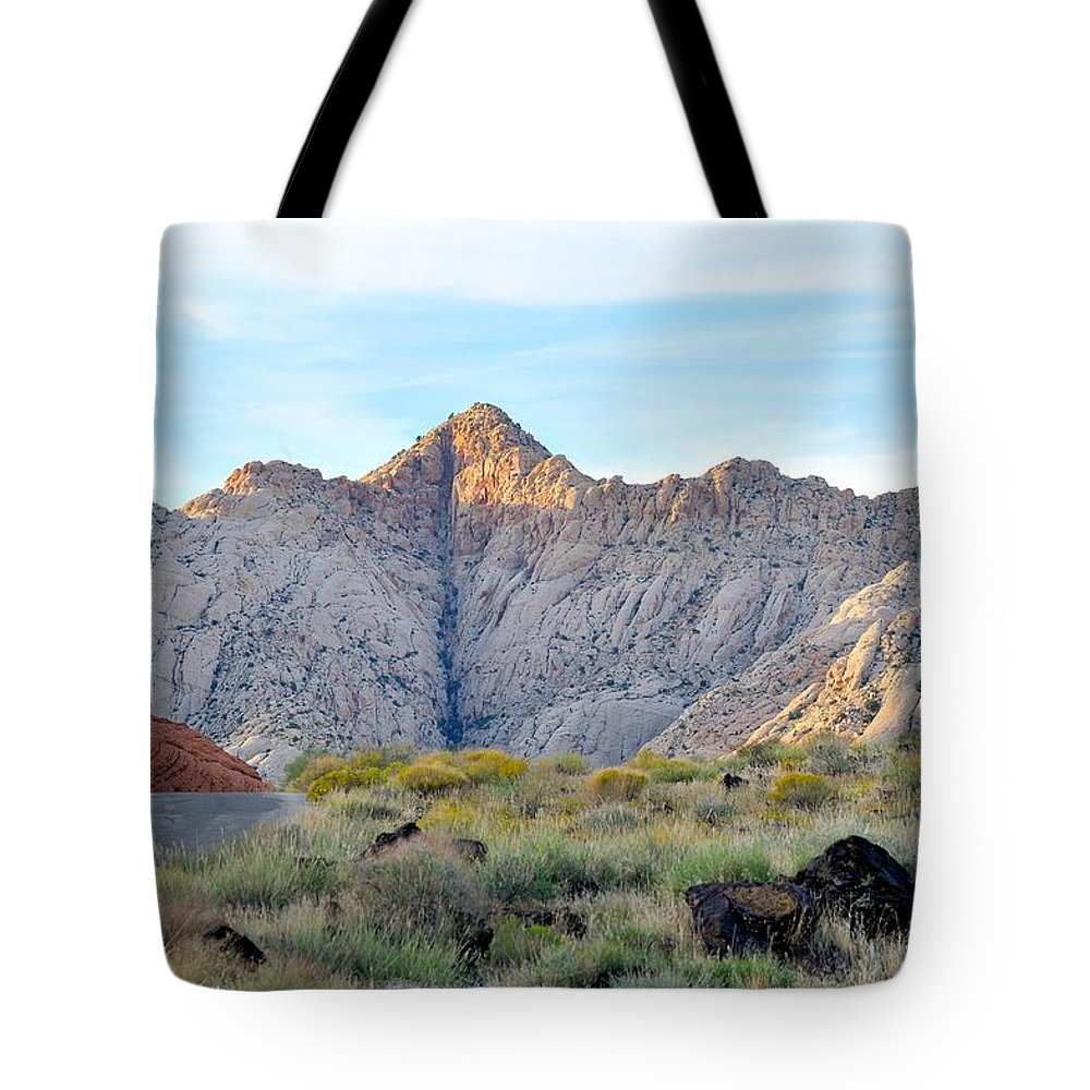 Black Knight Holdings; Randy Giesbrecht; Donna Giesbrecht ;snow Canyon Tote Bag featuring the photograph Snow Canyon by Randy Giesbrecht