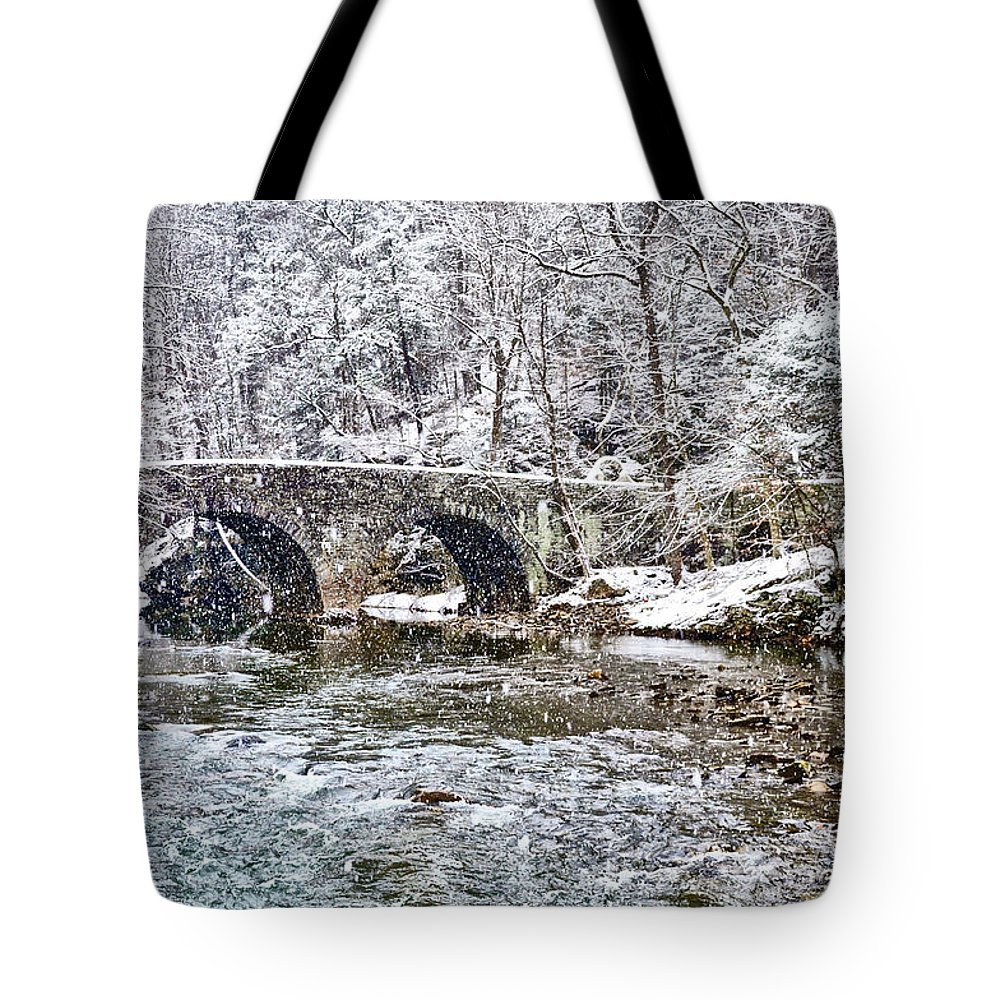 Snow Tote Bag featuring the photograph Snow Coming Down On The Wissahickon Creek by Bill Cannon