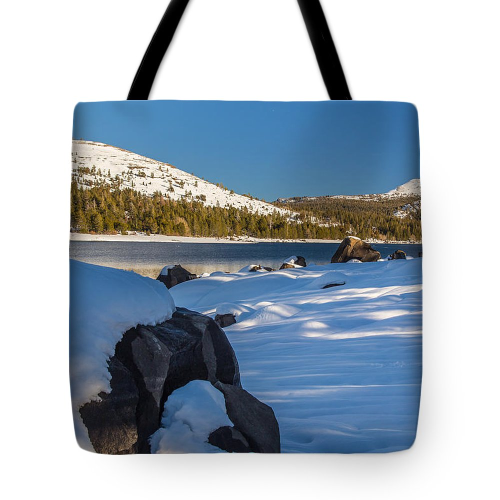 Landscape Tote Bag featuring the photograph Snow Covered Boulder by Marc Crumpler